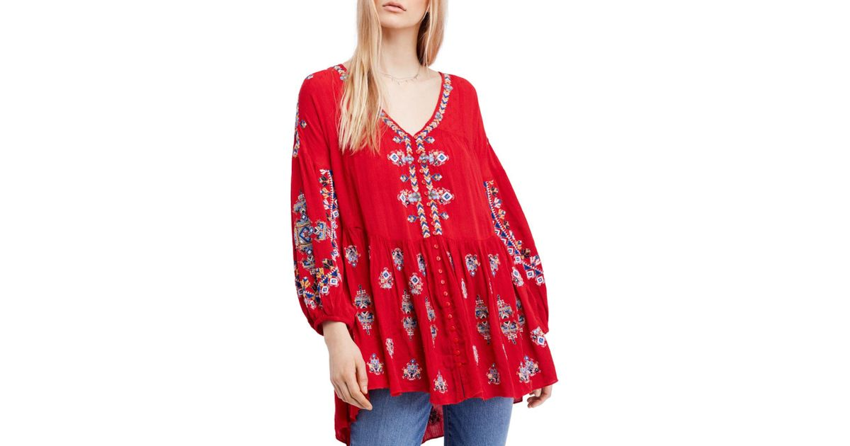 3e1f14a8f1a Free People Arianna Embroidered Tunic in White - Lyst