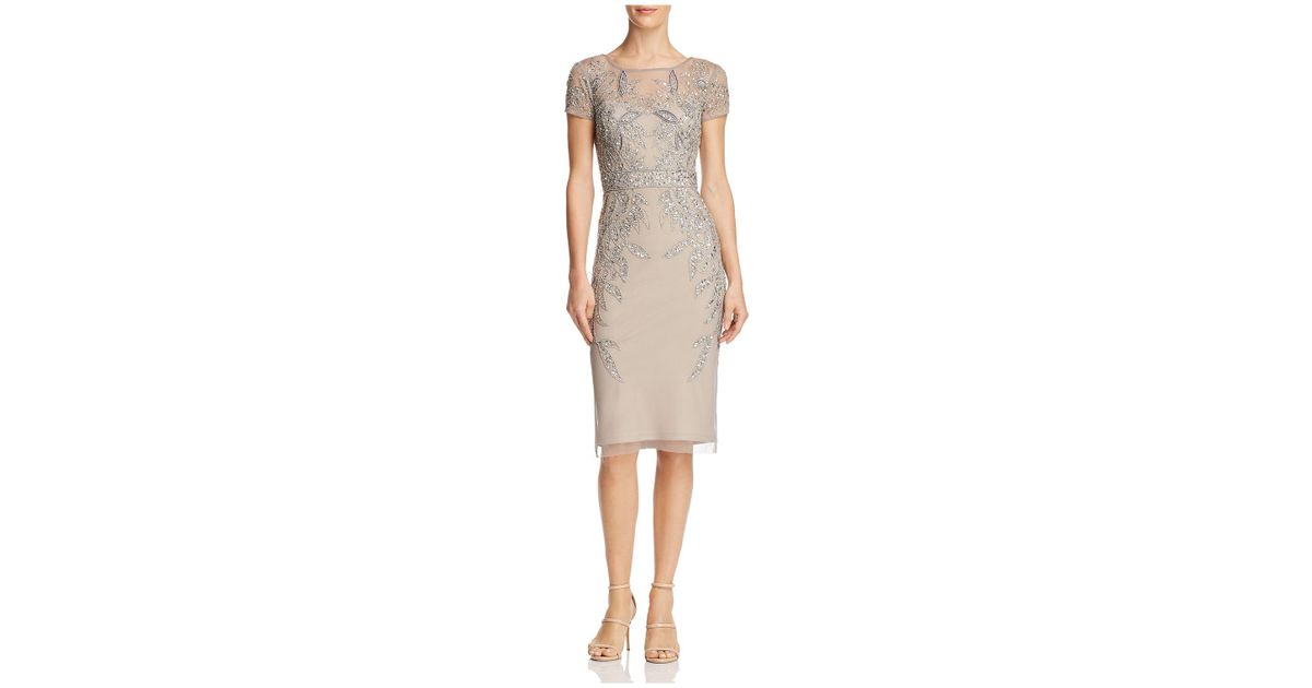 Lyst - Adrianna Papell Leafy Embellished Cocktail Dress