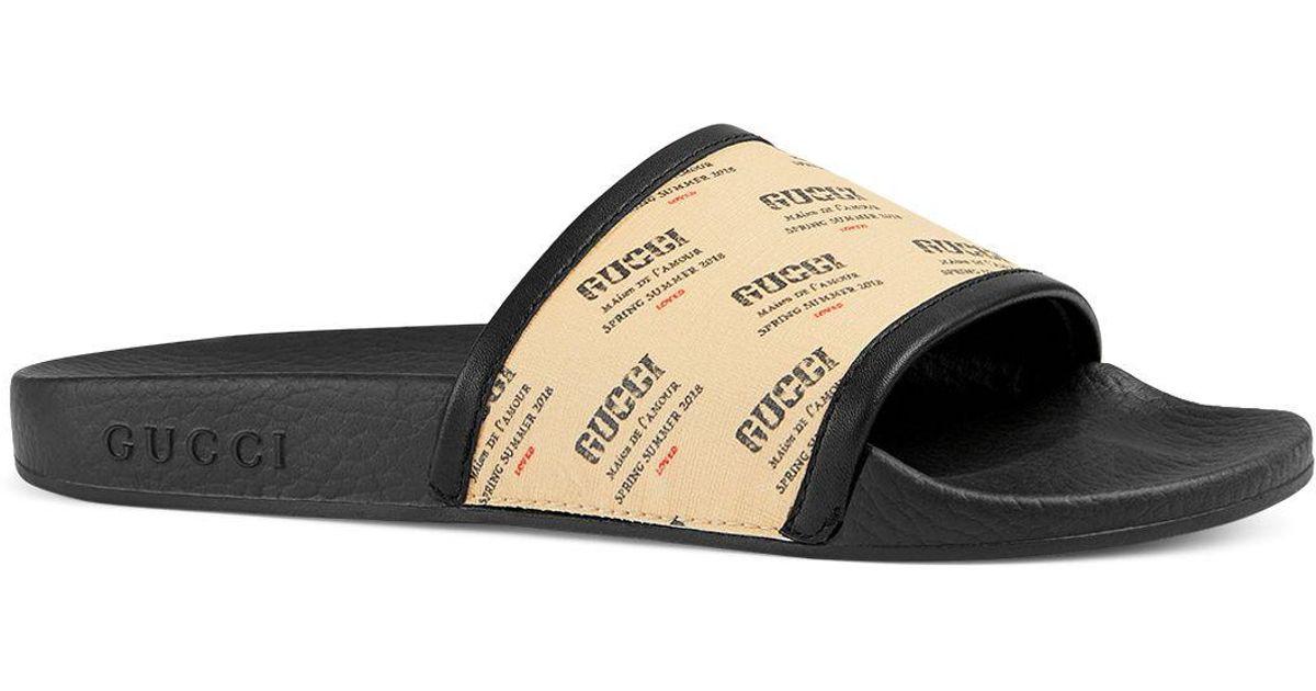 7defecb3dae81 Lyst - Gucci Women s Pursuit Invite Stamp Pool Slide Sandals in Black for  Men