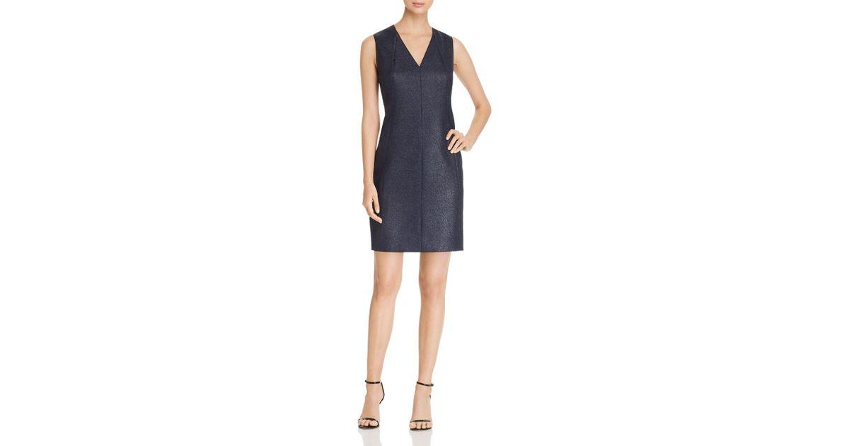 23172b9015bd6 Elie Tahari Roanna Metallic Shift Dress in Blue - Lyst