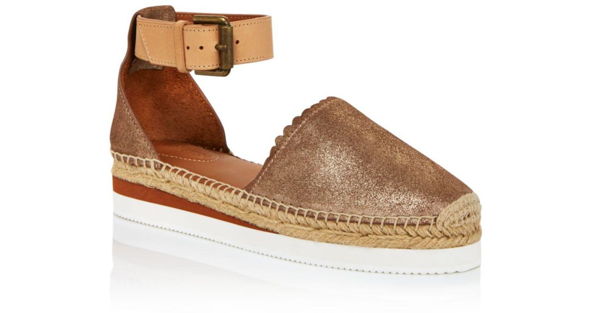2edf19983 See By Chloé Women's Leather Platform Espadrille Ankle Strap Flats in  Metallic - Lyst