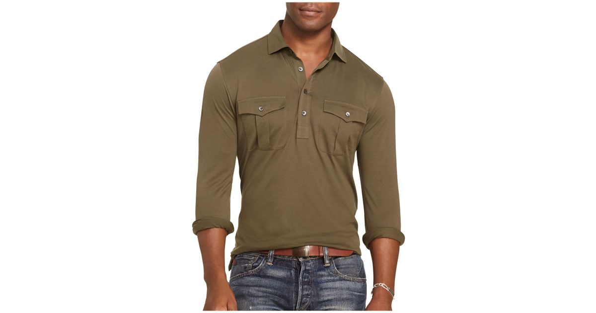 3a3f7b86c0d Lyst - Polo Ralph Lauren Cotton Military Popover Shirt in Green for Men