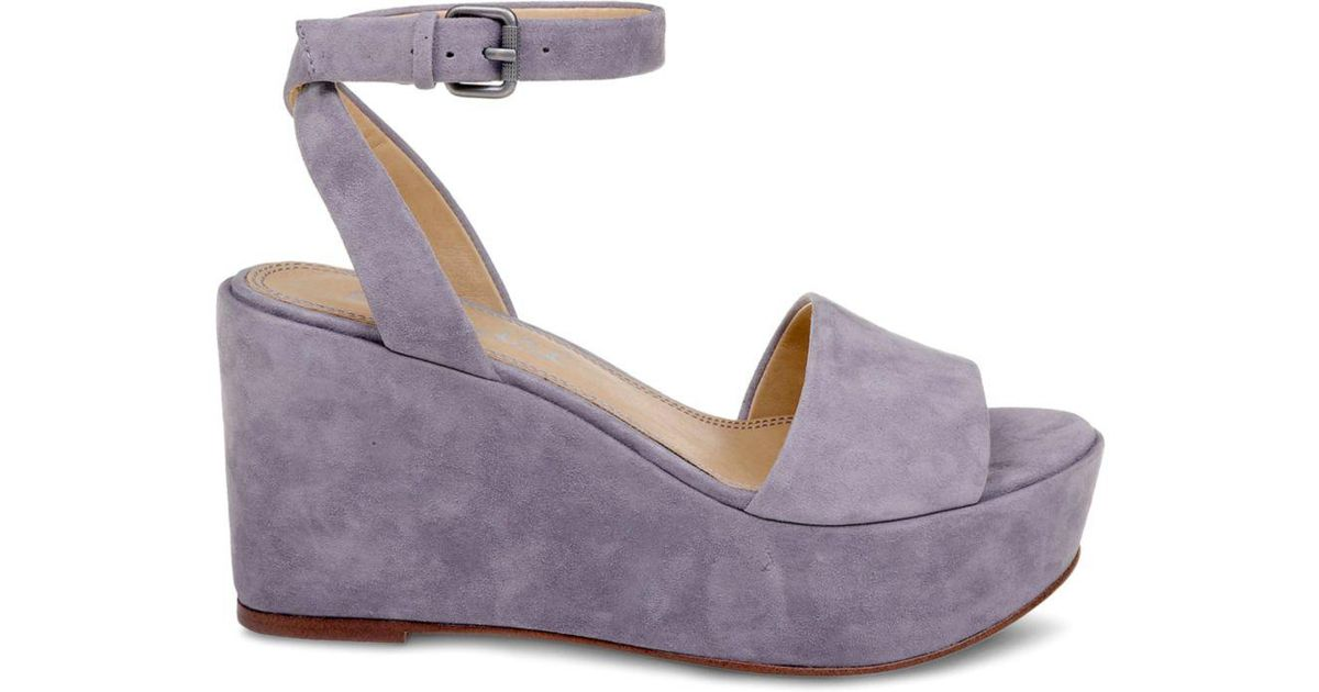 a392a0f6ee59eb Splendid Women s Felix Suede Ankle Strap Platform Wedge Sandals - Lyst