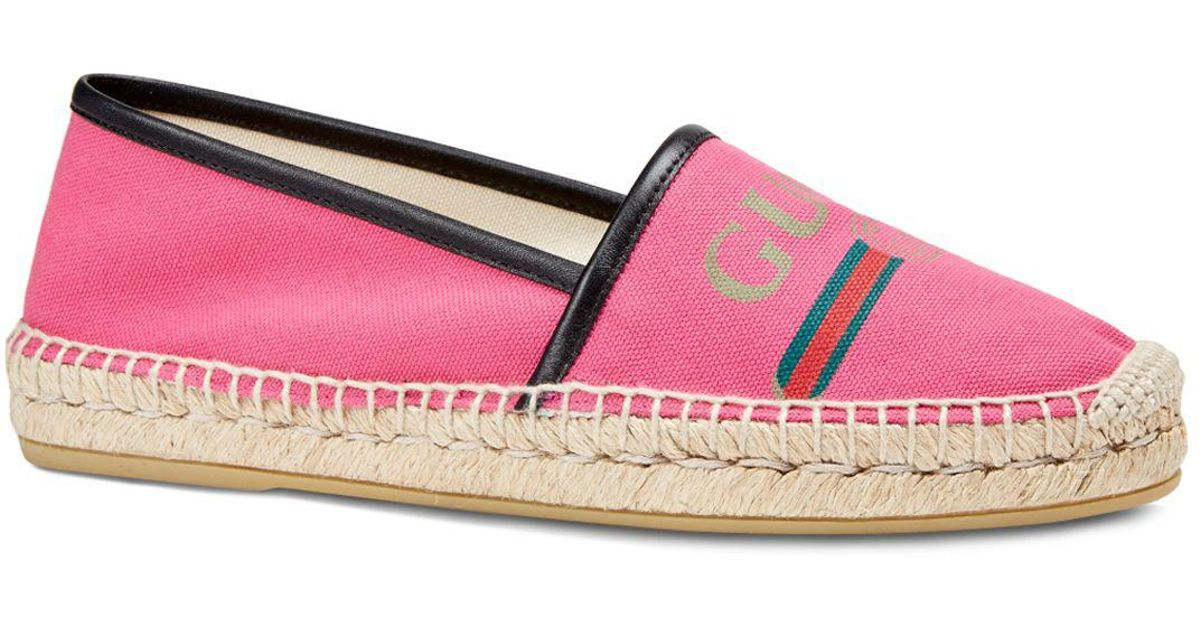 7c4e3832727 Lyst - Gucci Women s Canvas Logo Espadrille Flats in Red