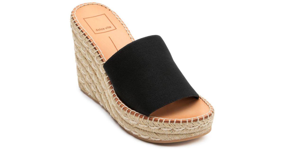 1d84126ec11 Lyst - Dolce Vita Women s Pim Platform Wedge Espadrille Slide Sandals in  Black