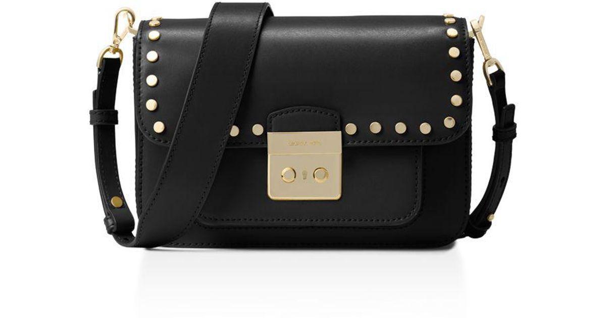 99a676e870ce Lyst - MICHAEL Michael Kors Sloan Editor Studded Large Leather Shoulder Bag  in Black