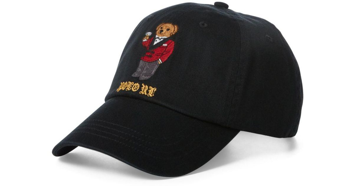 80b4c894c65 Polo Ralph Lauren Martini Bear Baseball Cap in Black for Men - Lyst