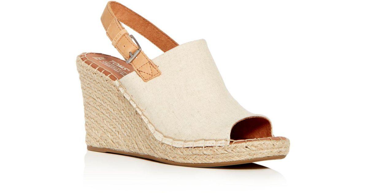 3cba6a31eafb Lyst - TOMS Women s Monica Hemp Espadrille Platform Wedge Sandals in Natural  - Save 44%
