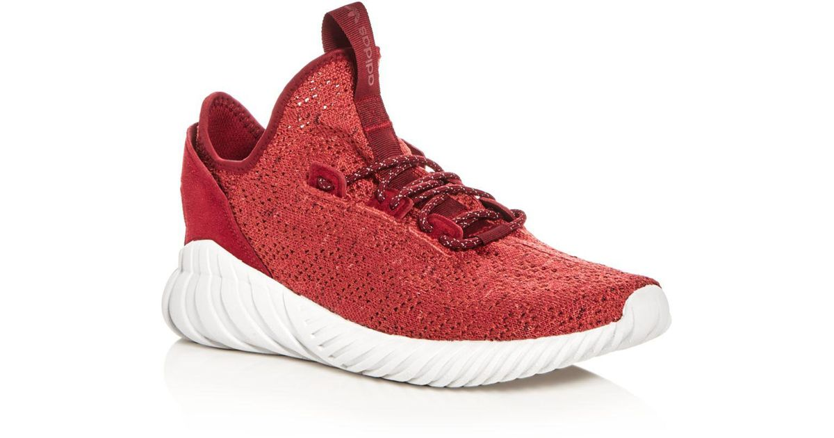 1155df6a6d49 ... 50% off lyst adidas mens tubular doom primeknit lace up sneakers in red  for men