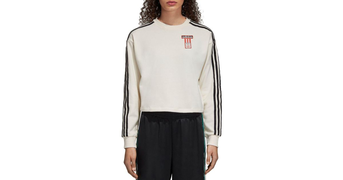 adidas Originals Adibreak Cropped Sweatshirt in White - Lyst b4e9f482c3f
