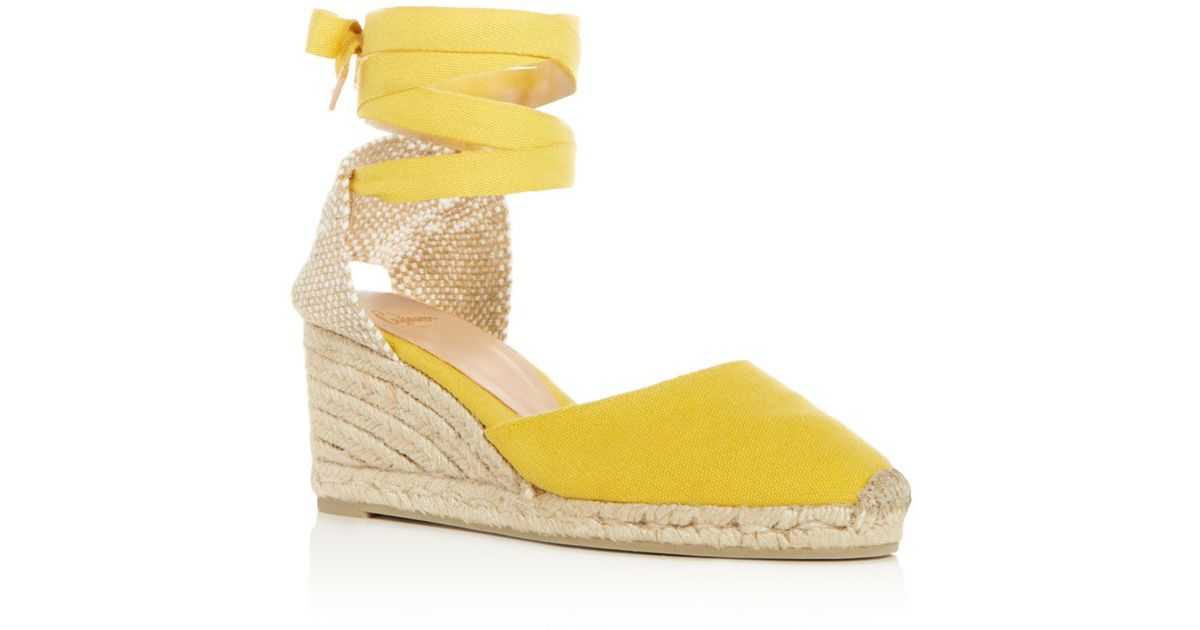 d1af998b60ec Castaner Women's Carina Ankle Tie Espadrille Wedge Sandals in Yellow - Lyst