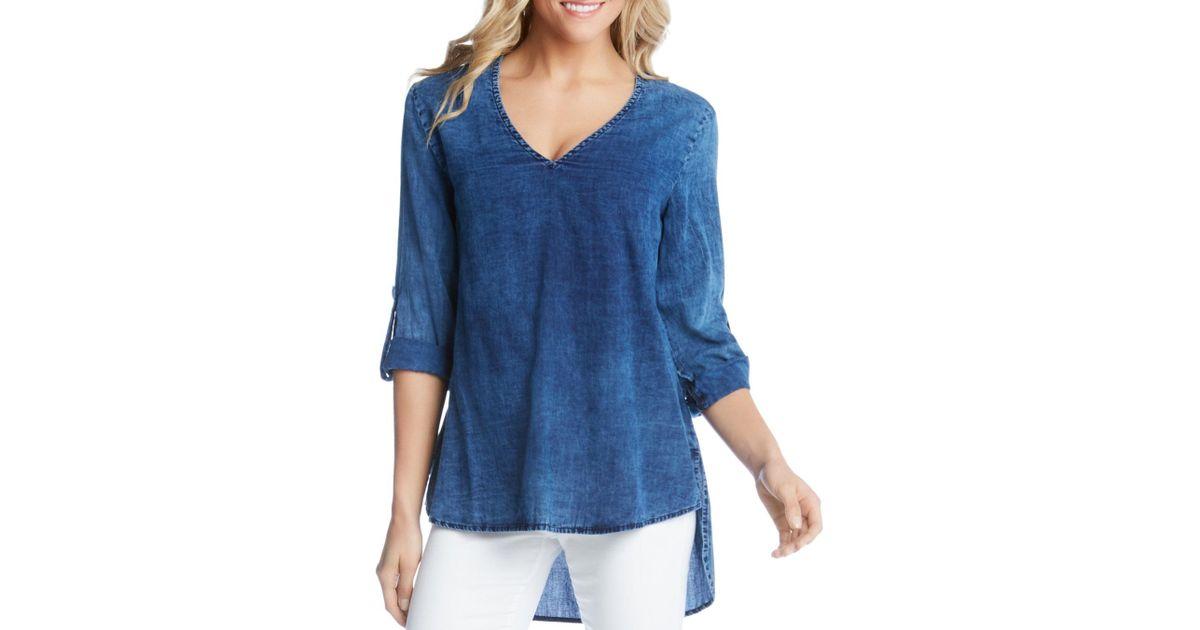 5e75e5f7fea77 Lyst - Karen Kane V-neck High low Top in Blue