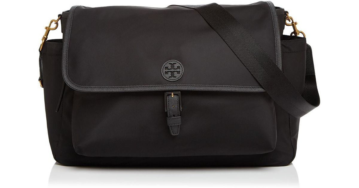tory burch scout nylon messenger diaper bag in black lyst. Black Bedroom Furniture Sets. Home Design Ideas