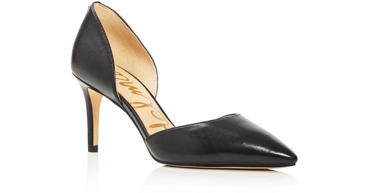 54751cc381 Sam Edelman Telsa Leather D'orsay Pointed Toe Pumps in Black - Lyst