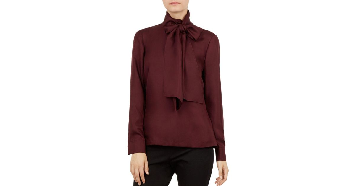 2848d32e5dcf69 Lyst - Ted Baker Marther Tie-neck Silk Top in Purple