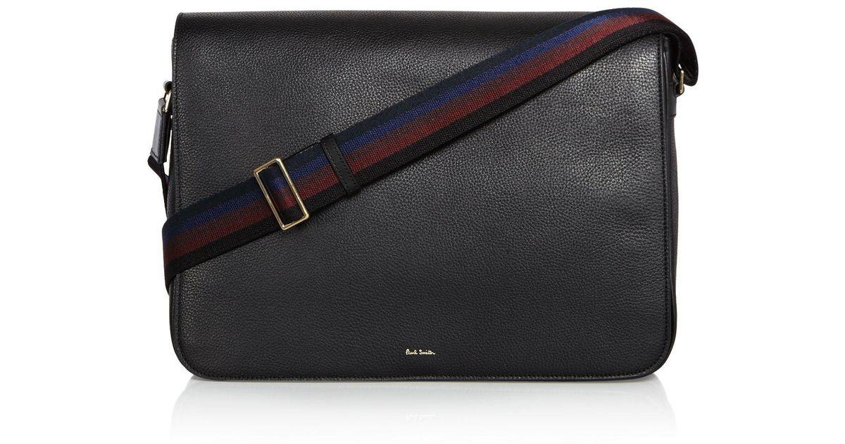 Portfolio Webbing-trimmed Full-grain Leather Messenger Bag - Black Paul Smith 400FbU