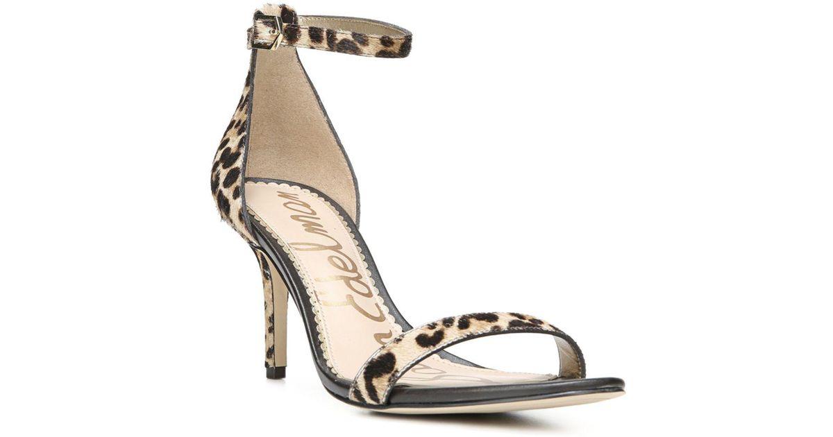 8130070f3a632 Lyst - Sam Edelman Women s Patti Open Toe Leopard-print Calf Hair High-heel  Sandals in Natural