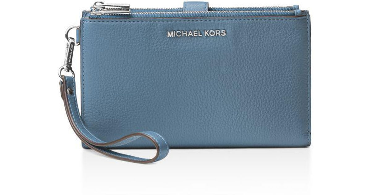 reputable site 82311 bb31f MICHAEL Michael Kors - Blue Adele Double Zip Leather Iphone 7 Plus Wristlet  - Lyst