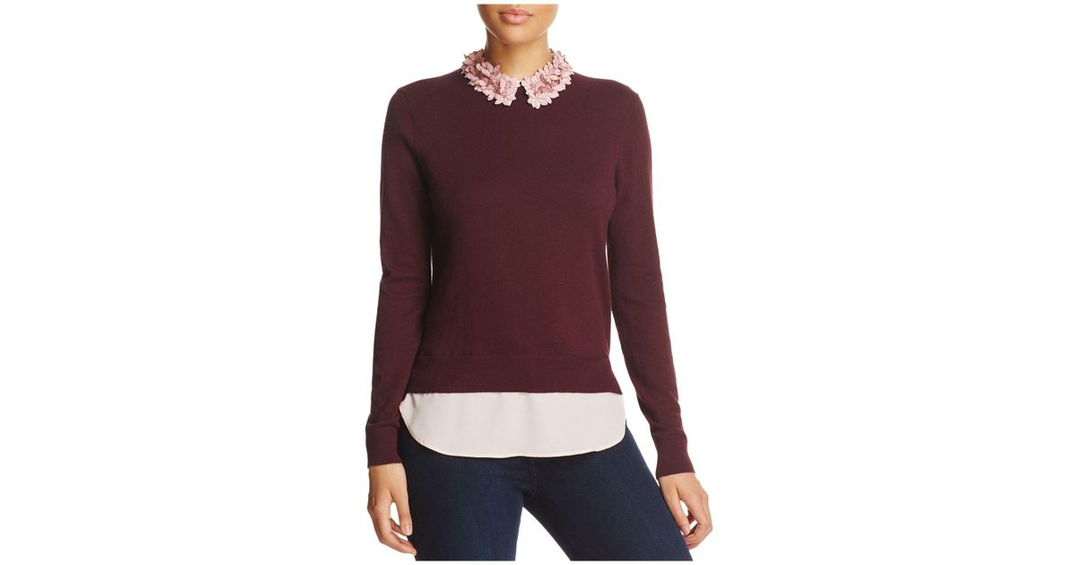82f47ee65802 Lyst - Ted Baker Nansea Floral Collar Layered-look Sweater in Purple