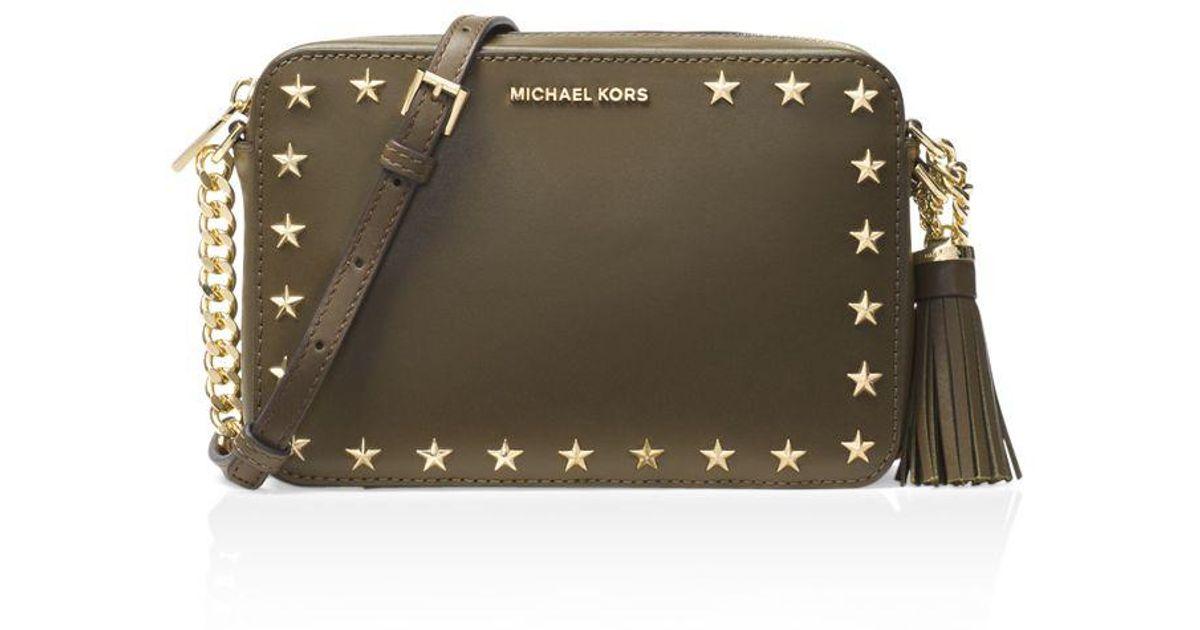 8e5dfefdc MICHAEL Michael Kors Ginny Star Stud Medium Leather Camera Bag - Lyst