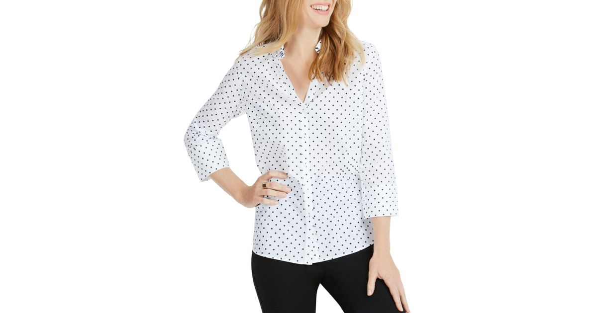 864941f86b58a Lyst - Foxcroft Mary Star Button-down Shirt in Black - Save 26%