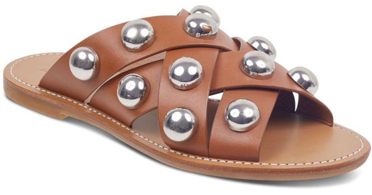 39b849df71a7 Lyst - Marc Fisher Women s Raidan Leather Stud Slide Sandals in Brown