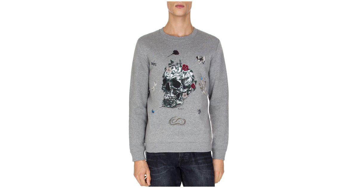 6c176c3d5ae The Kooples Skull Embroidered Fleece Sweatshirt in Gray for Men - Lyst