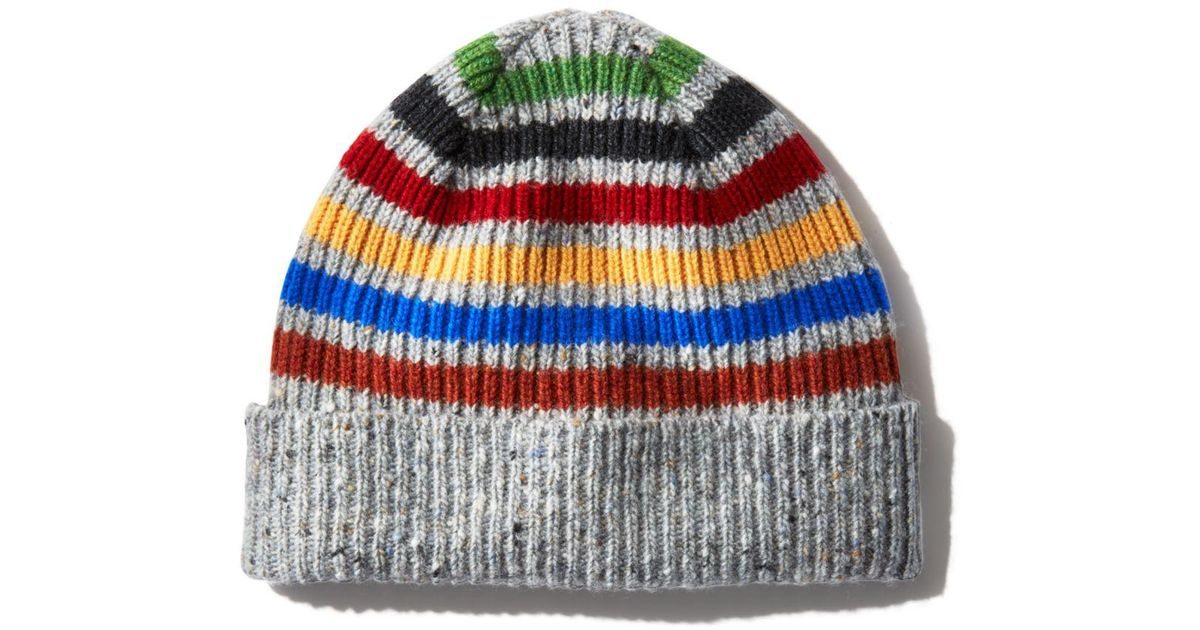7253bfedc95 Lyst - Paul Smith Donegal Striped Beanie in Gray for Men