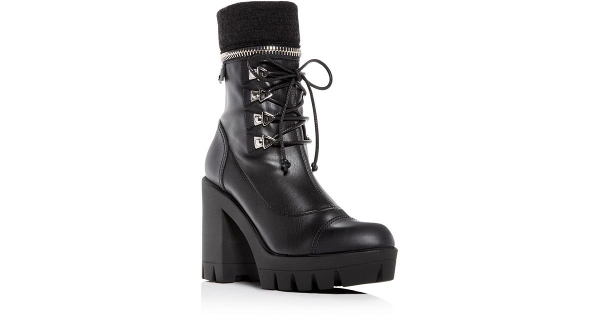 80e17107e394 Lyst - Giuseppe Zanotti Women s Gintonic Leather Zip Top Block-heel Platform  Combat Boots in Black