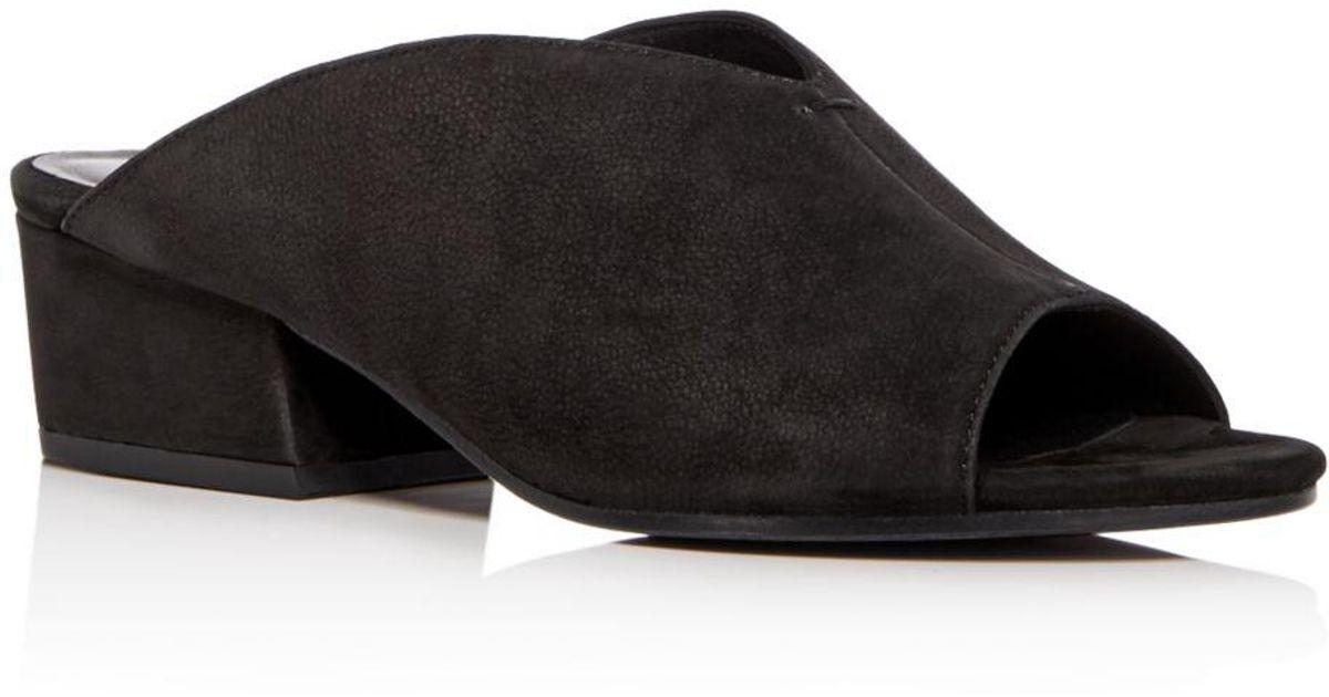 6fc2a8f581ef Lyst - Eileen Fisher Women s Katniss Nubuck Leather Block Heel Slide Sandals  in Black