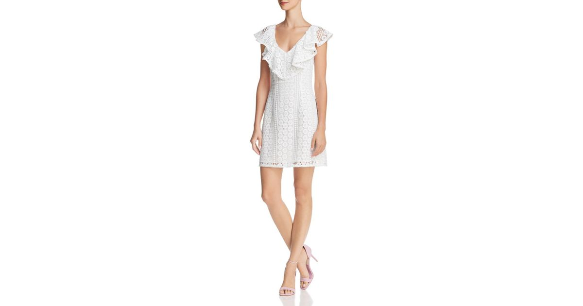 e637fb2c44e8e1 Lyst - French Connection Massey Ruffled Lace Dress in White