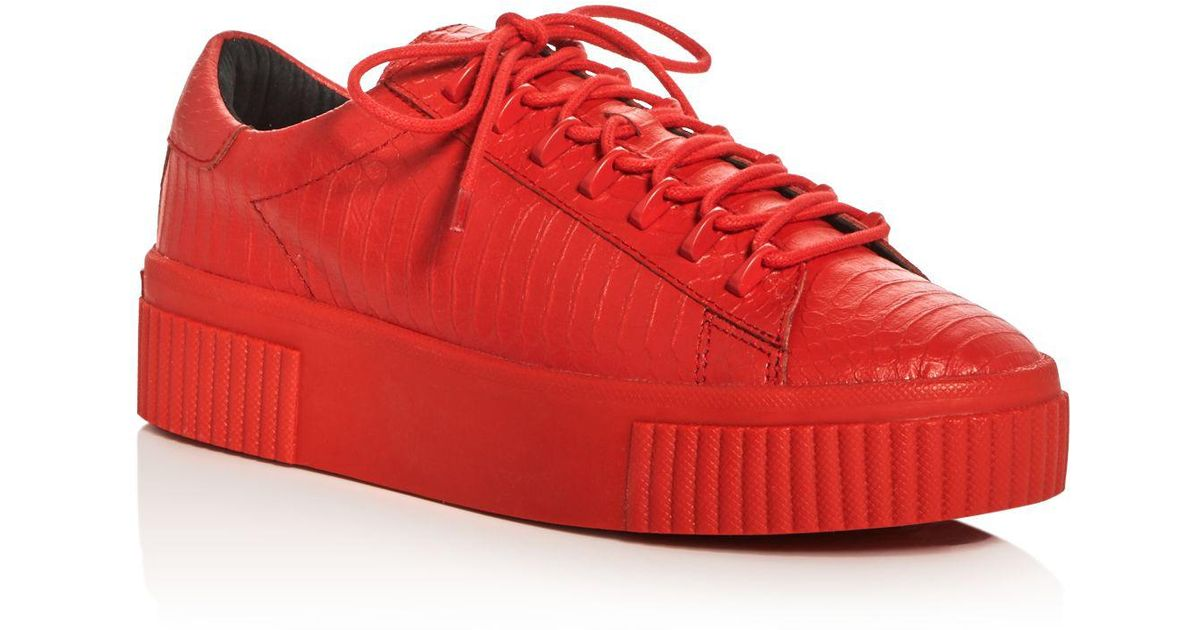 7b55e817354a Lyst - Kendall + Kylie Reese Embossed Lace Up Creeper Platform Sneakers in  Red