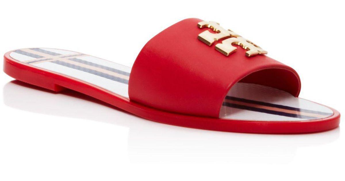 8380416bd5265 ... Lyst - Tory Burch Logo Jelly Slide Sandals in Red sneakers 8ef46 4fb3c   Lyst - Tory Burch Logo Leather Jelly Slide Sandal ...