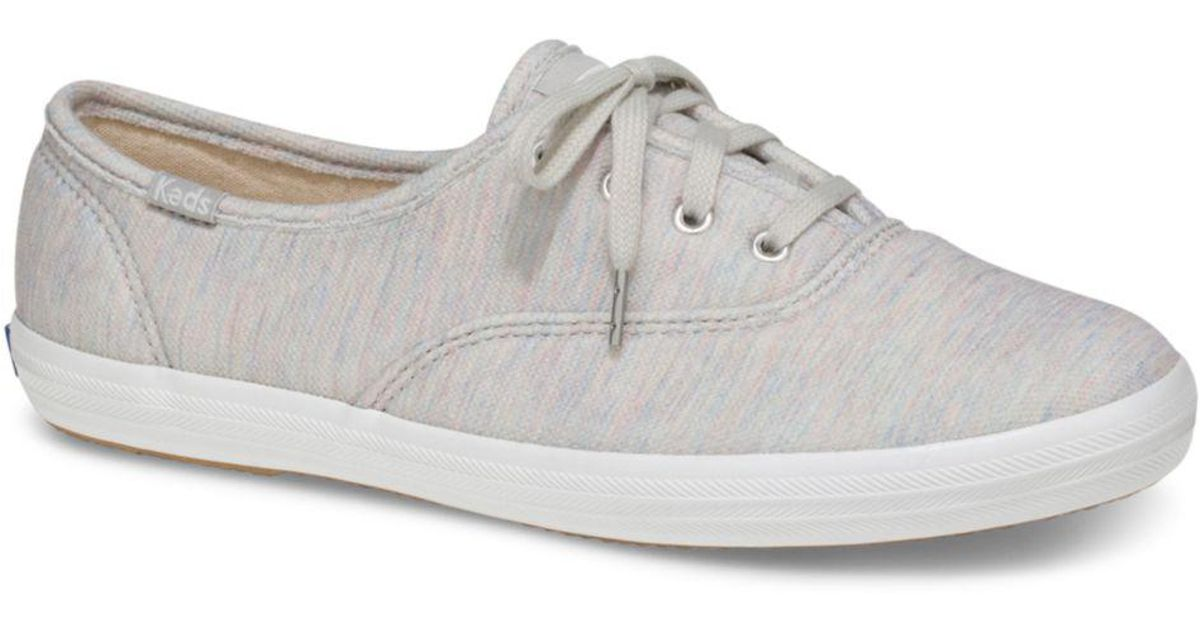 5781d06794275 Keds Women s Champion Jersey Lace Up Sneakers in Gray - Lyst