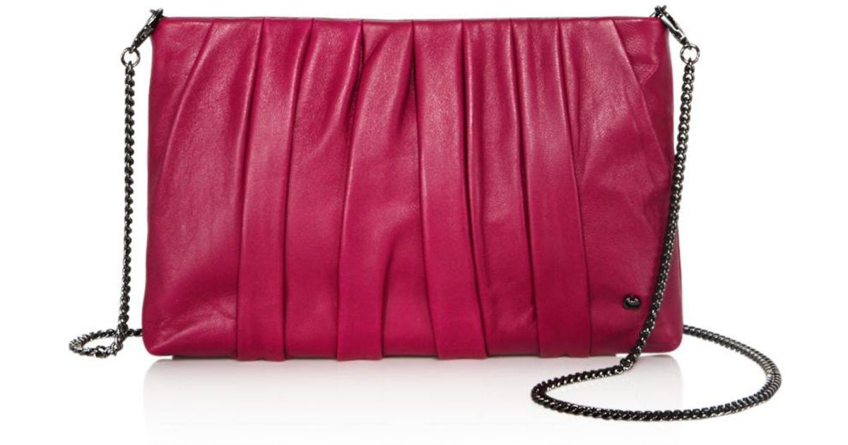 Lyst - Halston Grace Ruched Leather Clutch 217edeb4683c2
