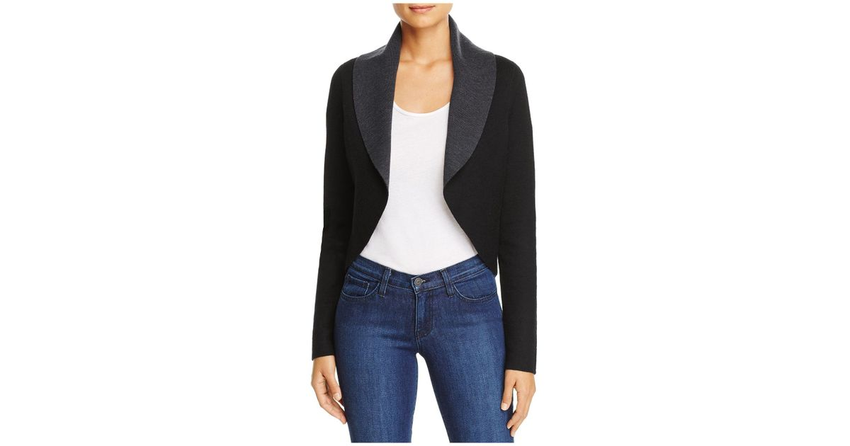 b6dd95349 Lyst - Elie Tahari Bradlee Reversible Color Block Cardigan in Black