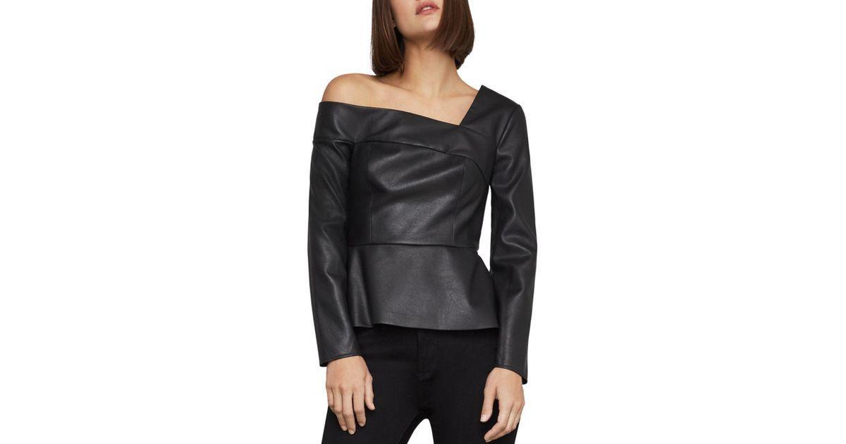 eebbd26b993c07 Lyst - BCBGMAXAZRIA Faux-leather One-shoulder Top in Black