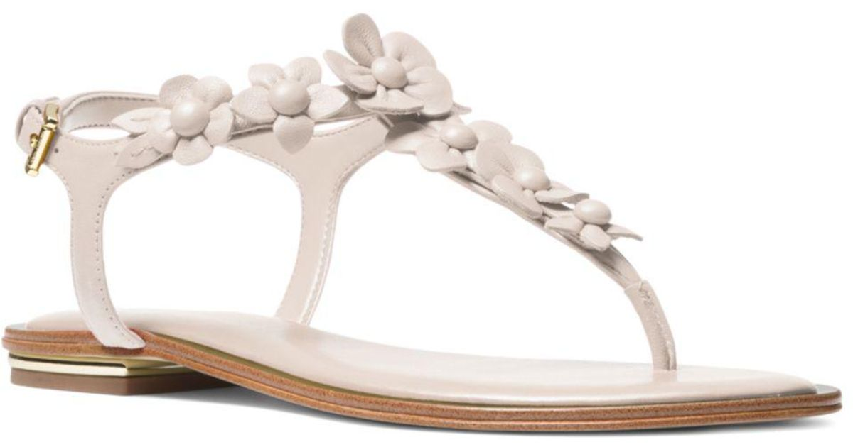 bd1999e0a MICHAEL Michael Kors Women's Tricia Leather Thong Sandals - Lyst