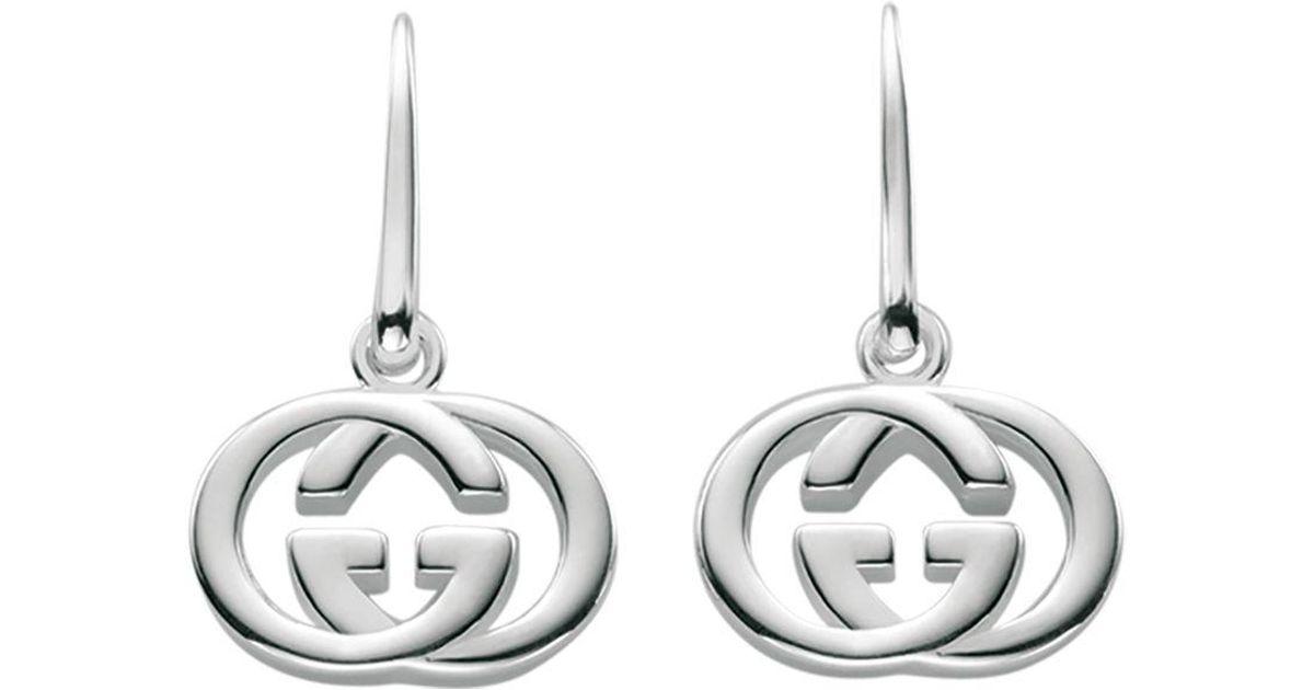 2052407ad87 Lyst - Gucci Women s Sterling Silver Interlocking G Hook Earrings  Ybd22332100100u in Metallic