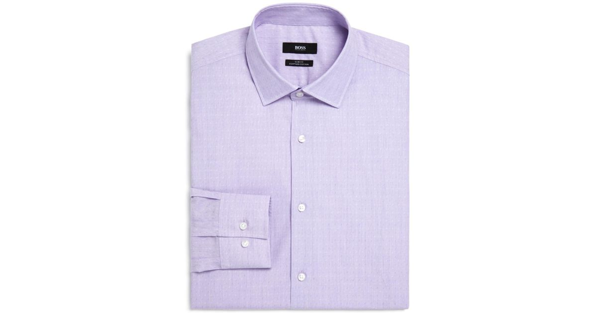 HUGO BOSS Lilac Isko Slim-fit Cotton-jacquard Shirt - Lilac CICi6