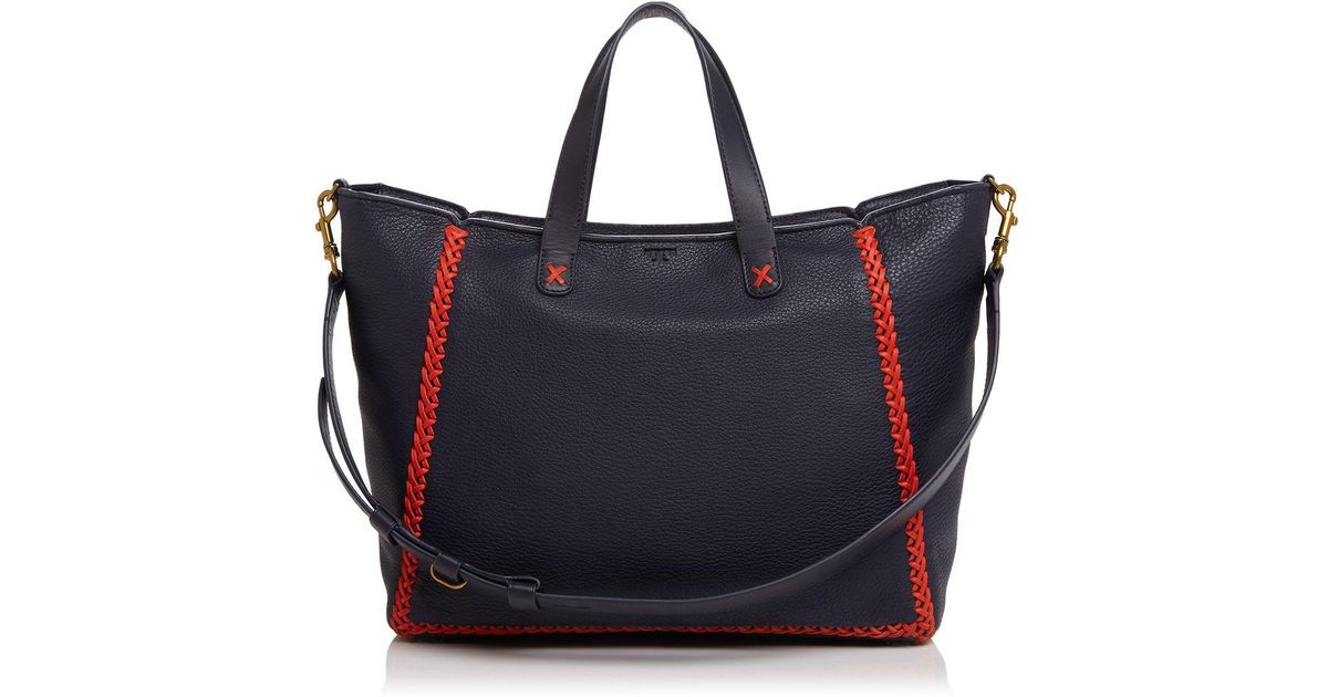 6846c402cc5a Lyst - Tory Burch Softy Whipstitch Medium Leather Tote in Blue