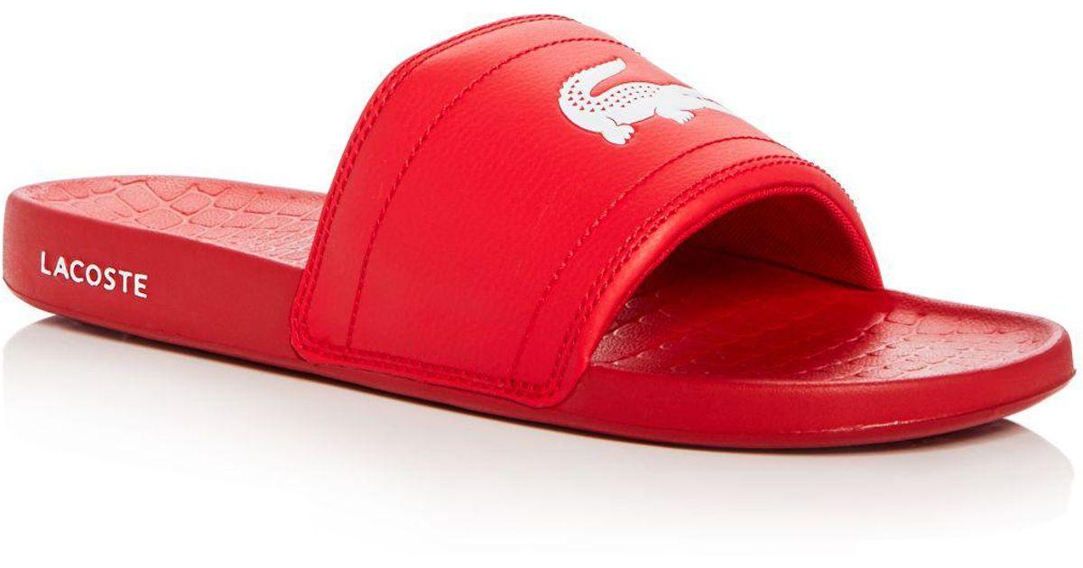 f858157f2 Lyst - Lacoste Men s Fraisier Slide Sandals in Red for Men