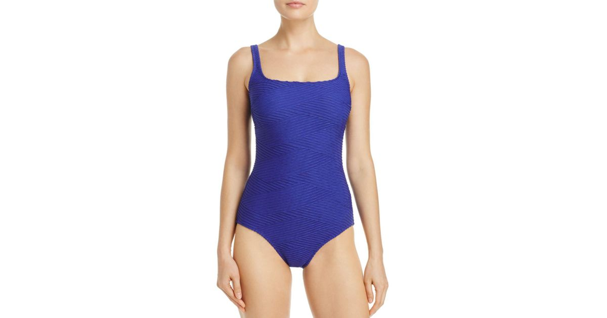 fbc6c06836167 Lyst - Gottex Essence Square Neck One Piece Swimsuit in Blue