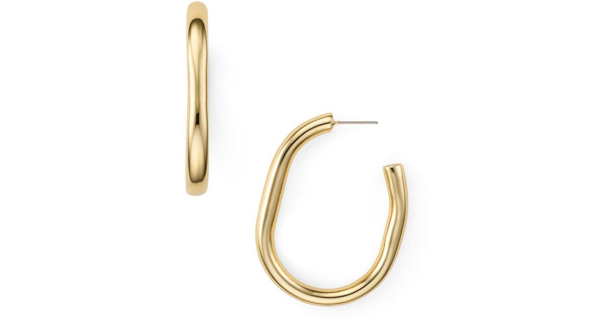 8bc75a1a4 Rebecca Minkoff Chunky Tube Hoop Earrings in Metallic - Lyst