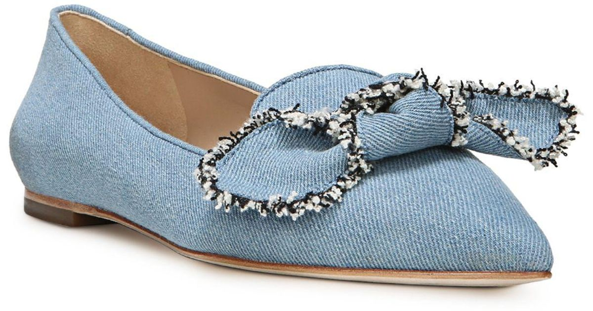 638eac006 Lyst - Sam Edelman Rochester Denim Pointed Toe Flats in Blue