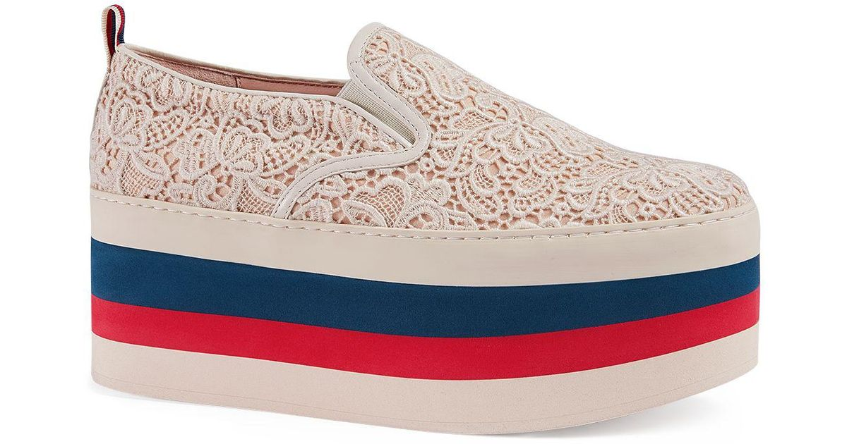 Lyst - Gucci Women s Peggy On Platform Lace Sneakers in White 74a8ce93c