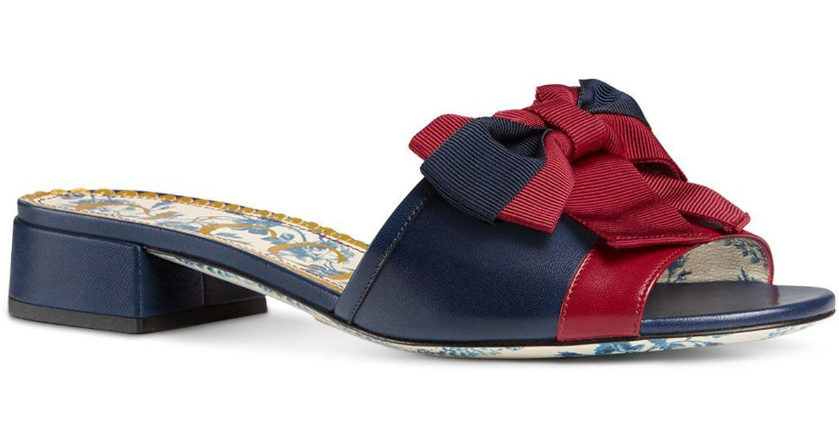 225405e0296c Lyst - Gucci Women s Sackville Leather Bow Slide Sandals in Red
