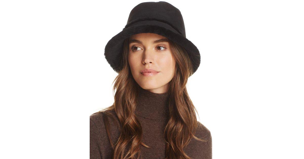 Lyst - UGG Shearling Trim Bucket Hat in Black d943637c724