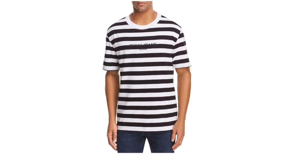 84d8ec1299 Guess Logo Striped Crewneck Short Sleeve Tee in Black for Men - Lyst