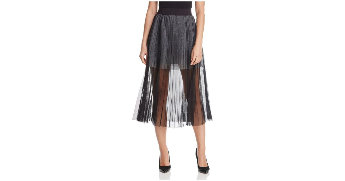 7b1aa0527 French Connection Daphne Illusion Midi Skirt in Black - Lyst